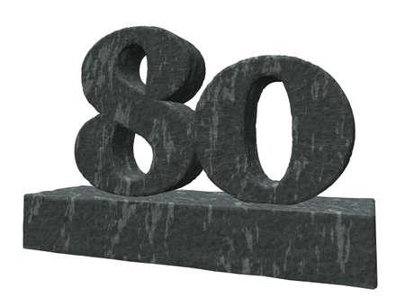 achtzig: Nummer 80 Denkmal auf wei�em Hintergrund - 3d illustration