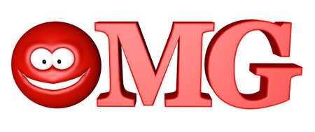 slang: lettersomg with smiley - 3d illustration