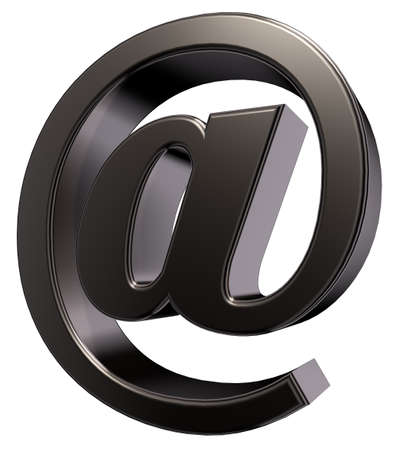metal email symbol on white background- 3d illustration