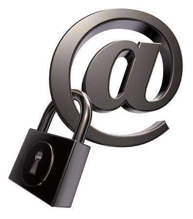 email symbol with padlock on white background - 3d llustration
