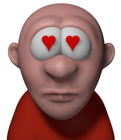 cartoon guy with red heart in his eyes - 3d illustration Stock Illustration - 15327985