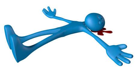 bloodstain: blue dead guy in blood - 3d illustration Stock Photo