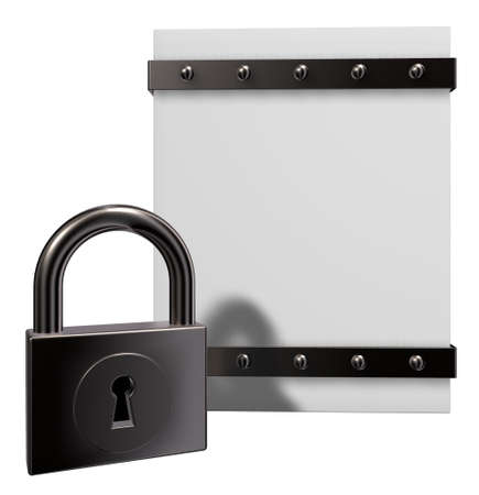 emboss: blank box with riveted iron bands and padlock - 3d illustration Stock Photo