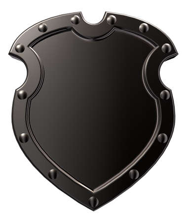 3d shield: blank metal shield on white background - 3d illustration Stock Photo