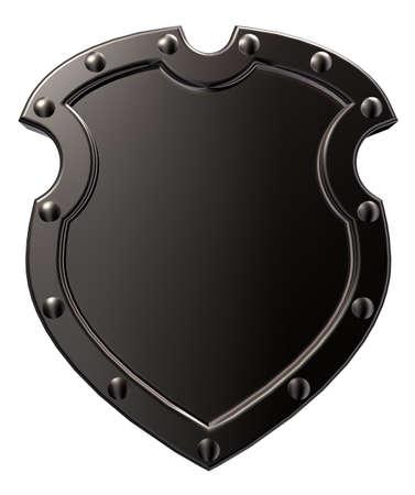 escudo militar: escudo de metal blanco sobre fondo blanco - ilustraci�n 3d