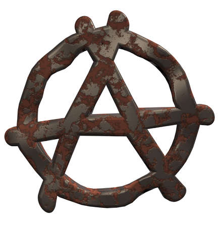 anarchy: rusty anarchy symbol on white background - 3d illustration Stock Photo