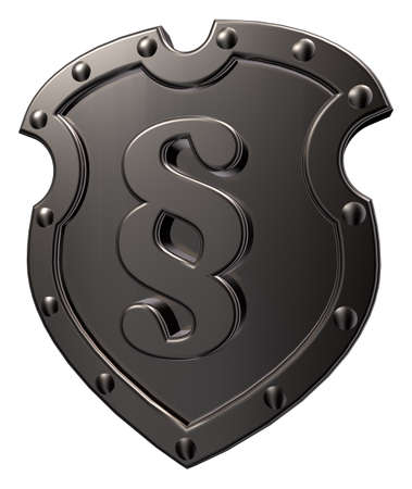 metal shield with paragraph sign on white background - 3d illustration illustration