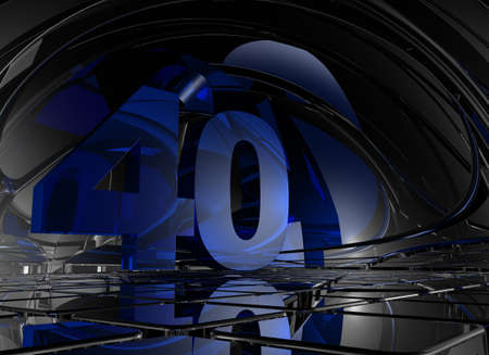 forty: number forty in abstract mirror space - 3d illustration