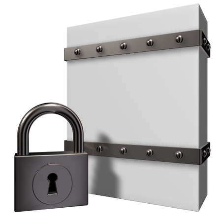 empty keyhole: blank box with riveted iron bands and padlock - 3d illustration Stock Photo