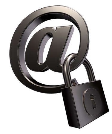 arroba: email symbol with padlock on white background - 3d llustration