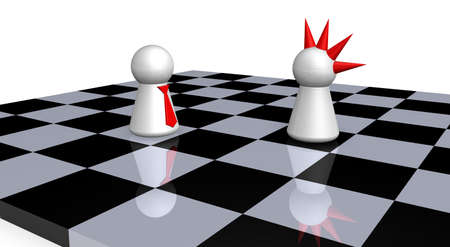 differentiate: play figures - punk and businessman on chess board - 3d illustration