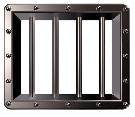 council: riveted metal prison window - 3d illustration
