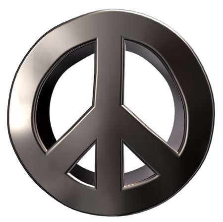 metal peace symbol on white background - 3d illustration Stock Photo