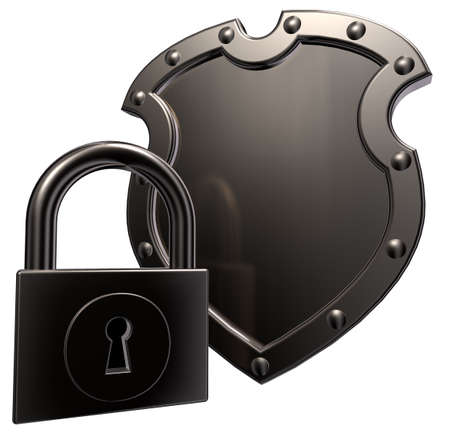 metal shield and padlock on white background - 3d illustration Stock Illustration - 15379017