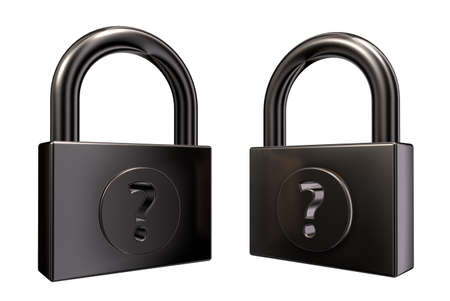 padlocks with question mark on white background - 3d illustration Stock Illustration - 15379024
