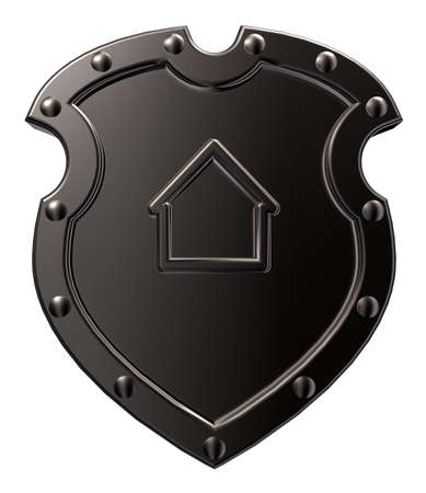 guard house: metal shield with house symbol on white background - 3d illustrationii