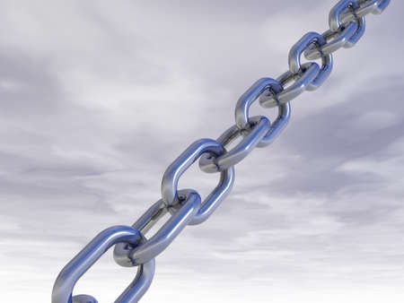 metal chain in front of cloudy sky - 3d illustration Stock Illustration - 15399333