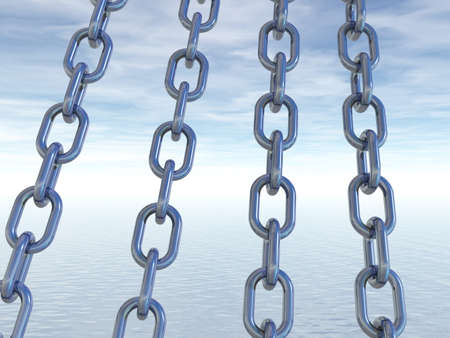 metal chains in front of cloudy sky - 3d illustration Stock Illustration - 15399338
