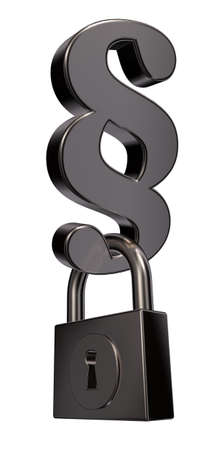 metal paragraph symbol and padlock on white background - 3d illustration illustration