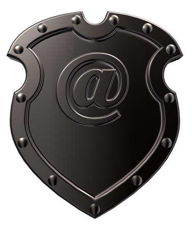 emailsymbol - 차원 그림으로 방패 스톡 콘텐츠