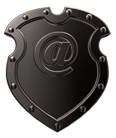 shield with emailsymbol - 3d illustration Stock Photo