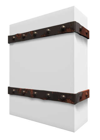 riveted: blank box with riveted iron bands - 3d illustration