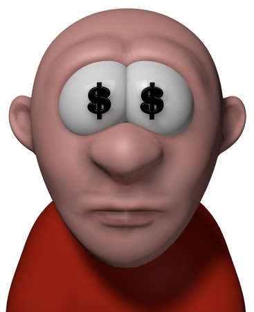 eager: cartoon guy wit dollar symbols in his eyes - 3d illustration Stock Photo