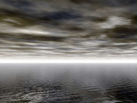 dark water landscape with light at horizon - 3d illustration illustration