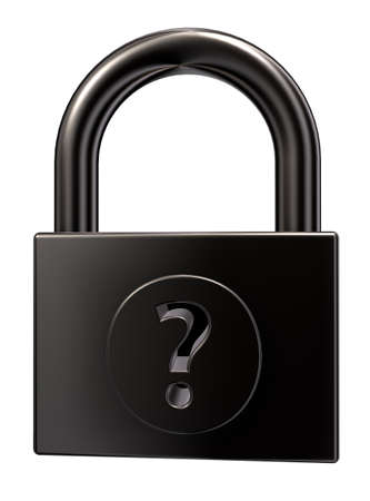 padlock with question mark on white background - 3d illustration Stock Illustration - 15466174