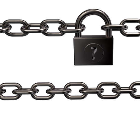 padlock with question mark and chains on white background - 3d illustration Stock Illustration - 15466189