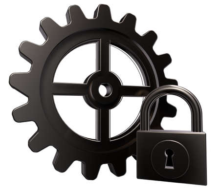unauthorized: gear wheel and padlock on white background - 3d illustration