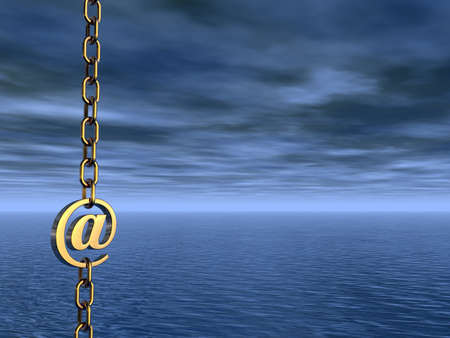 golden email symbol as part of a chain- 3d illustration Stock Illustration - 15466185