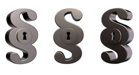 metal paragraph symbol with keyhole on white background - 3d illustration Stock Illustration - 15466177