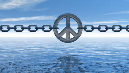 disarmament: chain with metal peace symbol over water  - 3d illustration Stock Photo
