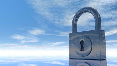 padlock under blue sky - 3d illustration Stock Illustration - 15466183