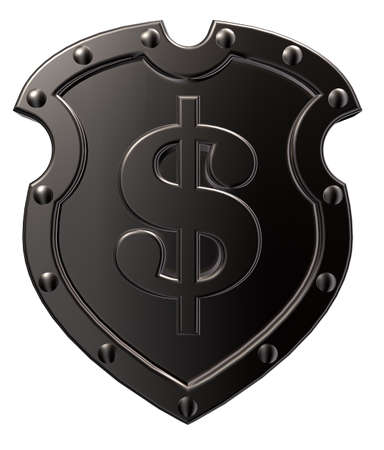 dollar symbol on metal shield - 3d illustration Stock Illustration - 15466181