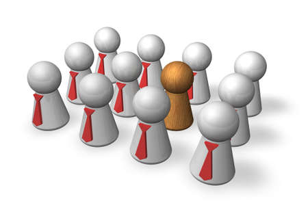 outsider: group of play figures with ties   except one is the outsider - 3d illustration Stock Photo