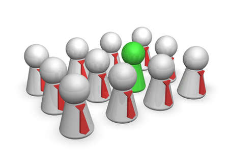 differentiate: group of play figures with ties   except one is the outsider - 3d illustration Stock Photo