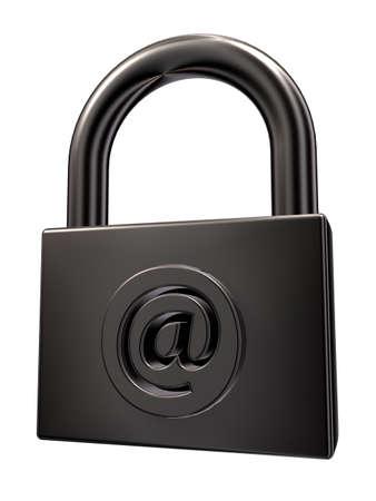 padlock with email symbol on white background - 3d illustration Stock Illustration - 15466209