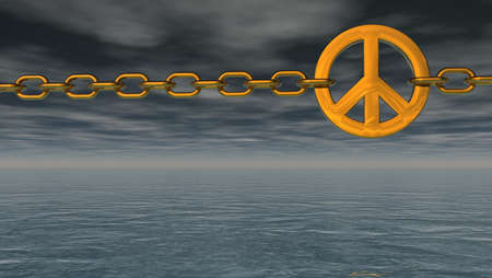 disarmament: chain with metal peace symbol over dark water  - 3d illustration