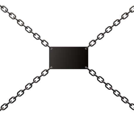 blank metal sign on chains - 3d illustration Stock Illustration - 15466236