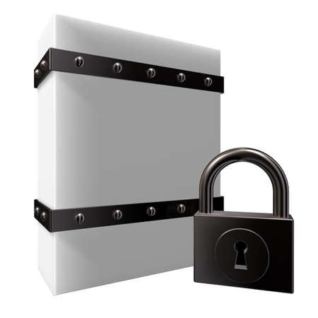 riveted: blank box with riveted iron bands and padlock - 3d illustration Stock Photo