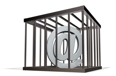 forbids: email alias in a cage on white background - 3d illustration