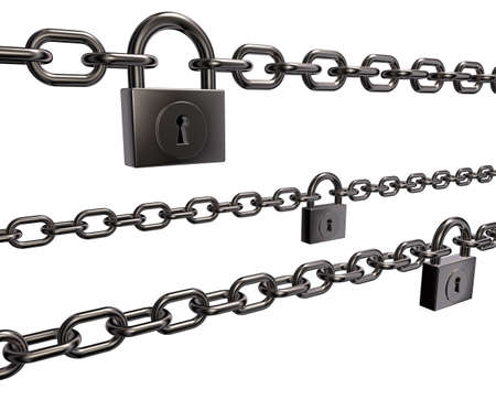 chains and padlocks on white background - 3d illustration Stock Illustration - 15544233