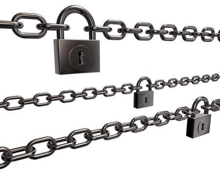 chains and padlocks on white background - 3d illustration Stock Illustration - 15544233