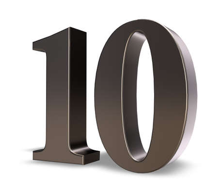 number ten: metal number ten on white background - 3d illustration
