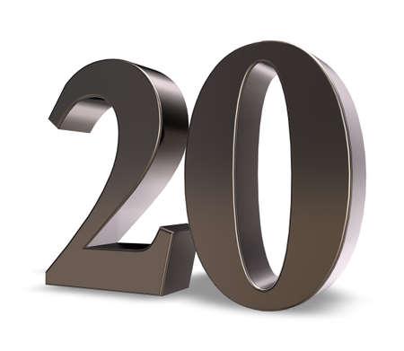 20: metal number twenty on white background - 3d illustration Stock Photo