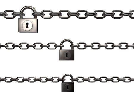 chains and padlocks on white background - 3d illustration Stock Photo