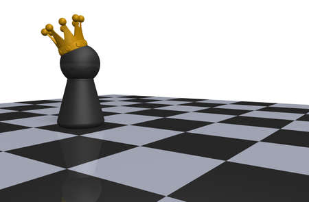 king on chessboard - 3d illustration illustration