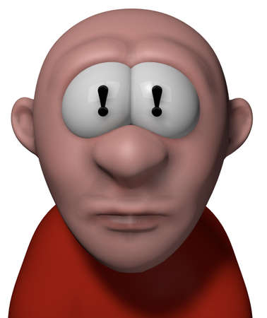 cartoon guy with exclamation mark in his eyes - 3d illustration Stock Illustration - 15544237